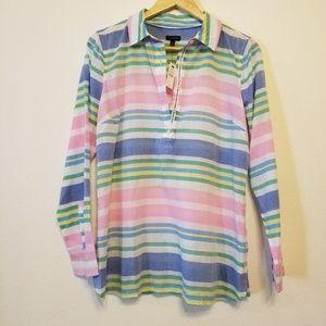 Talbots horizontal stripe Henley placket shirt